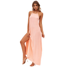 2018 New Sexy Boho Maxi Dress Halter Backless Sleeveless Solid Slip Dress  Thigh High Split Beach 9ff3174c0cf7