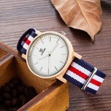 2016New llegada japonés miyota 2035 movimiento relojes de pulsera relojes de madera de bambú de la manera de nylon para los hombres y las mujeres regalos de navidad