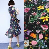 flowers snake print soft silk crepe fabric, 100% Mulberry silk crepe fabric tissue for women dress, 140cm width pure silk crepe