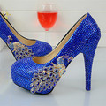 Royal Blue Rhinestones High Heels Wedding Shoes Woman Phoenix Diamond  Crystal Bridal Shoes Party Prom Pumps caa529e15864