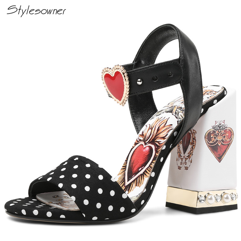 Stylesowner Sexy Red Heart Chunky Crytal Heels Sandals Dot Bling Rhinestone Ladies Dress Shoes Bling Pearl High Heel SummerShoes metallic platform dress pumps colorized chunky heel sandals bling bling sequined bridal shoes glittering paillette thick heels