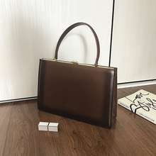 [Hely Coptar] 100% Genuine Leather Top-Handle Women Handbags Vintage Style Frame Bags 3Colors Black Brown White Tote Large Bag