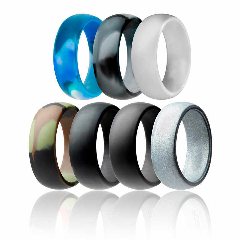 8mm Wide Silicone Ring 7pc/set Wedding Band Camouflage Silver Rubber Rings for Men Women Finger Jewelry Gift anillo de silicona
