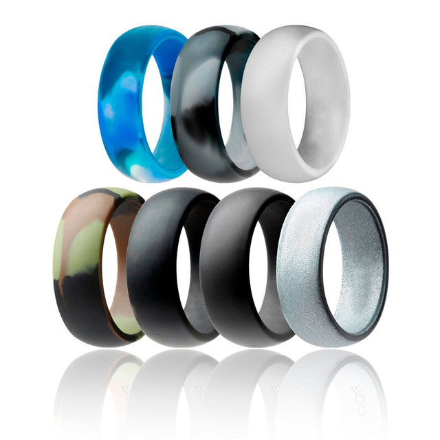 8mm Wide Silicone Ring 7pc Set Wedding Band Camouflage Silver Rubber
