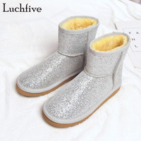 Luchfive Silver Golden Women Snow Boots Winter Shoes Bling Bling Sequins Flat Heel Ankle Boots For