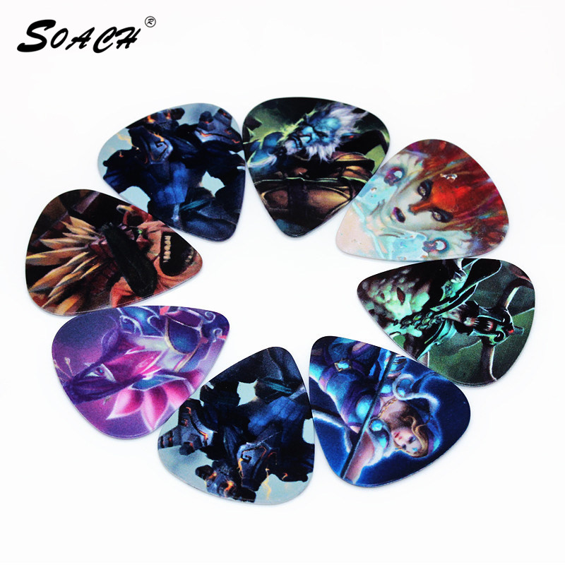 SOACH 10pcs/Lot 0.71mm Thickness Guitar Strap Guitar Parts Popular Game Design Guitar Picks