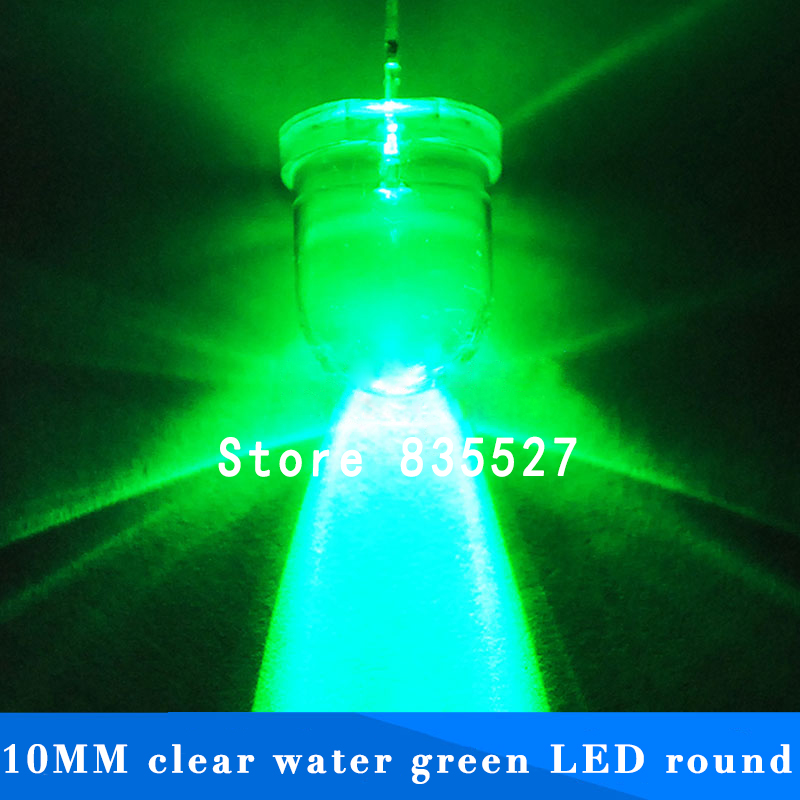 20pcs/lot F10 Round Water Clear 10mm Emerald Green LED Super Bright Light Lamp Beads Emitting Diode Diodes DIP For DIY Lights