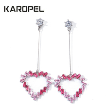 2019 New Luxury Colorful CZ Zircon Crystal Women Heart Shape Dangle Earrings for Wedding Tassel Cuff pendientes mujer m
