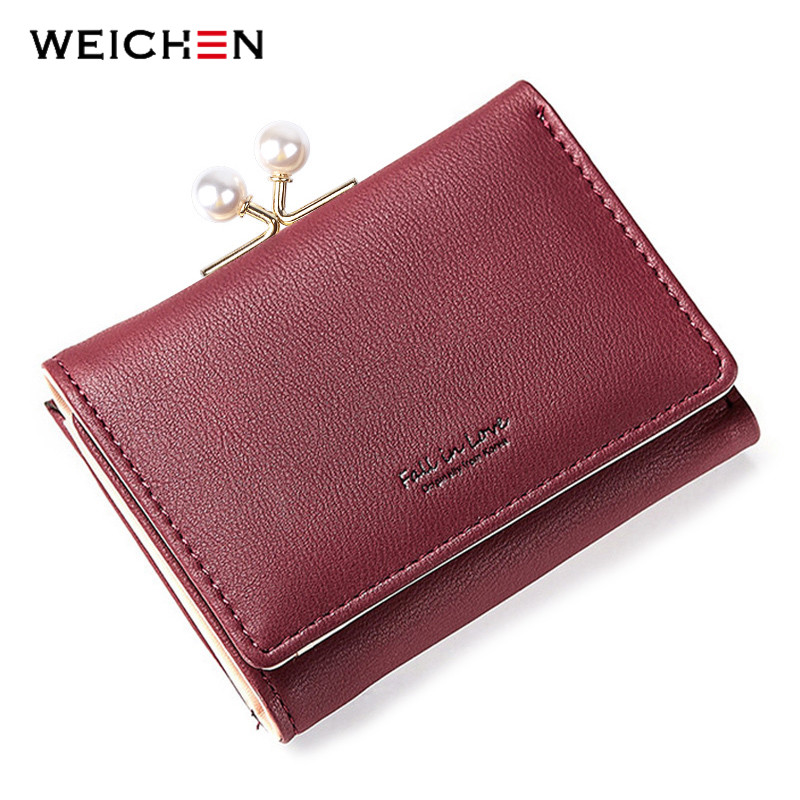 WEICHEN Brand Pearl Element Small Wallets Women's 3 Fold Artificial Leather Ladies Clip Coin Purse Card Holder Red Wallet Female