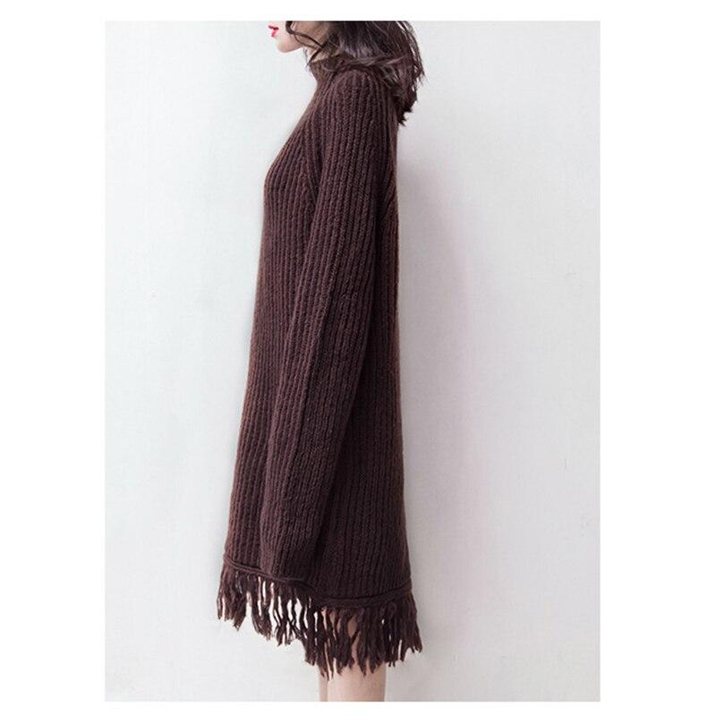 CR High Street Knitted Sweater Dress Women Winter Loose Tassel Dresses Turtleneck Pullovers Knitting Dress 2017 Lady