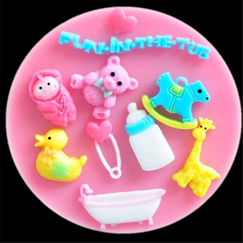 1pc Baby Fondant Silicone Mold Bear Cake Decorating Tools Jelly Pudding Chocolate Moulds Pastry Baking Tool Kitchen,dining & Bar