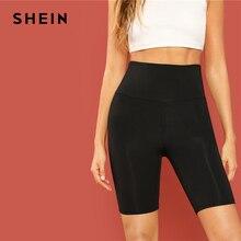 SHEIN สีดำลำลอง Crop เข็มขัดกว้างขี่จักรยานสั้น Leggings ฤดูร้อน MODERN Lady ผู้หญิงกางเกงกางเกง