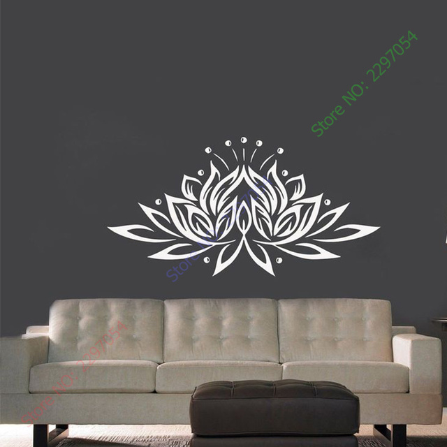 Lotus Flower Wall Art aliexpress : buy lotus flower yoga meditation wall art sticker