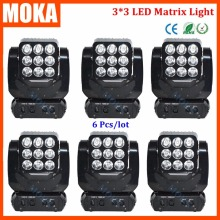 6PCS/LOT Stage DMX 512 Light 9*10Watt Mini Matrix Led Head Light Moving Head Projector Dj RGBW 3*3 Light