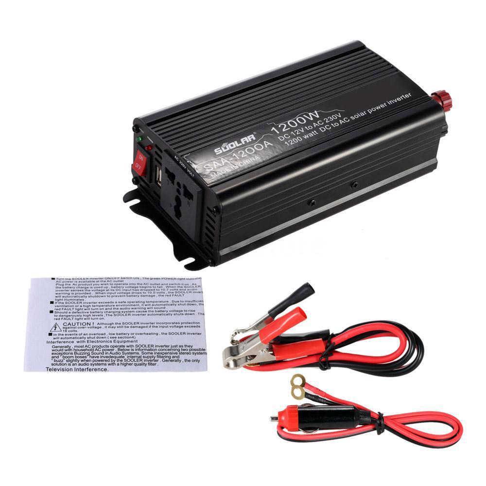 1200w dc12v to ac220-240v ac household solar power inverter converter  overload over temperature short