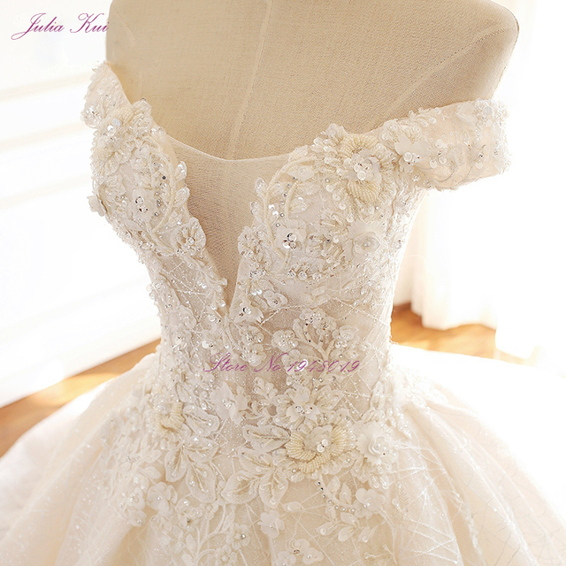 Julia Kui High-end Strapless Invisible Neckline Wedding Dresses With Pearls Beading Ball Gowns Robe de Mariage 4