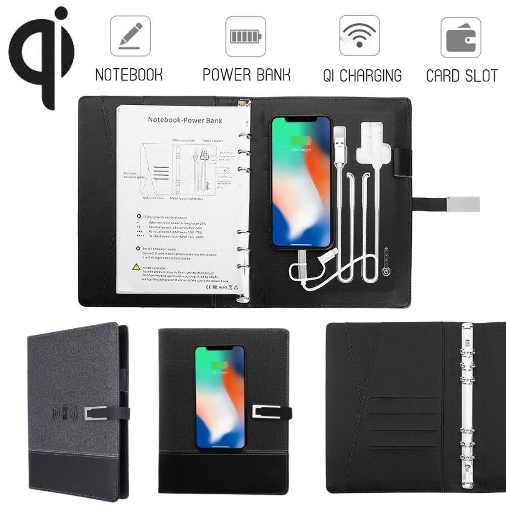 Multi Fonctionnelle Entreprise Note livre Puissance Banque Qi Sans Fil De Charge Portable Liant Spirale Journal Planificateur pour iPhone pour Xiaomi