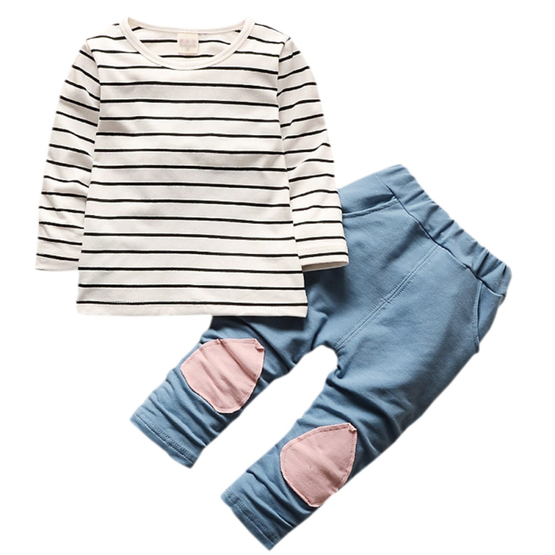 Autumn New Toddler Suit Boys Girls Children Clothing Long Sleeve Striped Hoodie Tops + Denim Pants Boys Sets