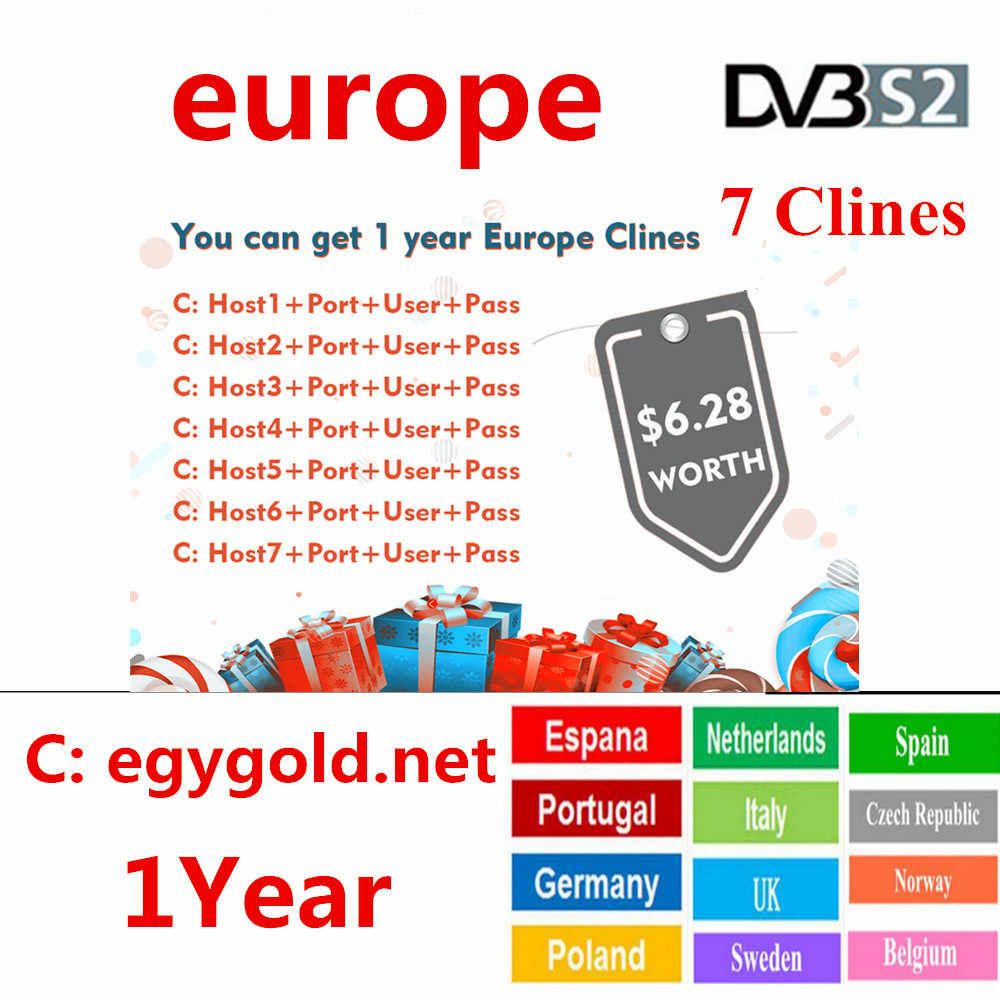 2019 Европа HD кабель 1 год CCCams для спутникового ТВ ресивера 7 Clines wifi Полный DVB-S2 поддержка Испания cline ccam Serverl 4 k tv box