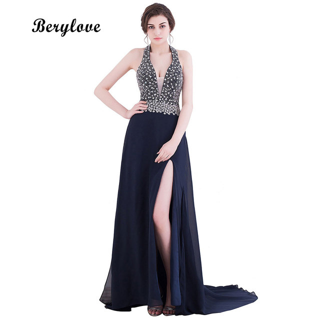 BeryLove Black Mermaid Prom Dresses 2018 Long Beaded Deep V Neck Backless  Evening Dresses Slit Sexy Prom Gowns Prom Party Dress e25d782ca2a8