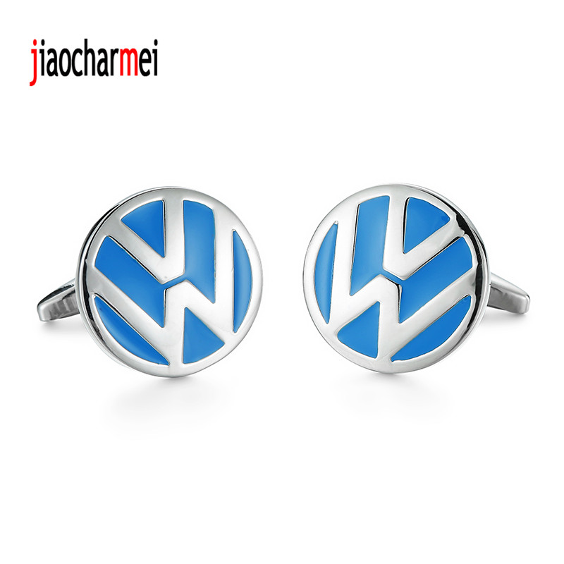 High quality mens shirts Cufflinks new fashion boutique car logo blue Volkswagen cufflinks, French shirt accessories