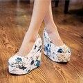 Grande Pequeño Tamaño 32 ~ 43 Moda Oficina de Patentes de Alta Calidad de La Moda de Primavera Señoras de las mujeres Ocasionales Del Talón de Cuña de Equipo de Trabajo Zapatos de la corte