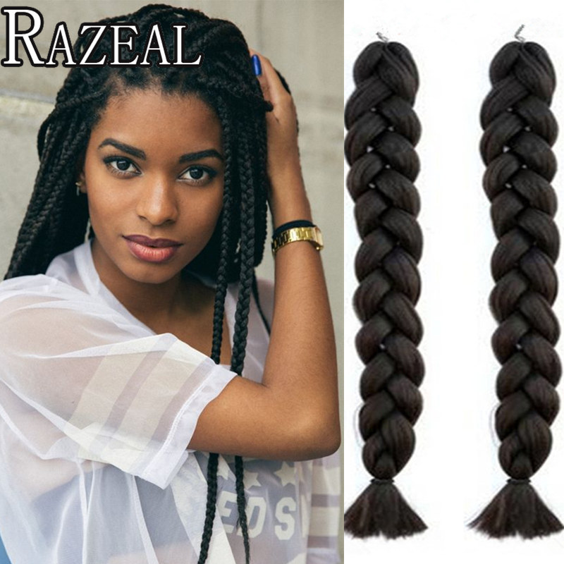 Lovely Razeal 20 Ombre 100g Crochet Braids Synthetic Braiding Hair Jumbo Braids Hair Extension High Temperature Fiber Jumbo Braids Hair Extensions & Wigs
