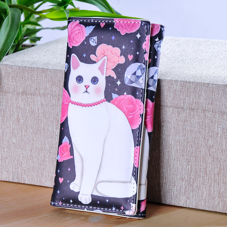 New Fashion Women Wallet Soft PU Leather Hasp Long Coin Purse Lovely Cat Prints Moneybags Lady Clutch Wallet Cards Holder japanese anime attack on titan rivaille ackerman levi cosplay women long wallet pu leather women kawaii pink clutch coin purse