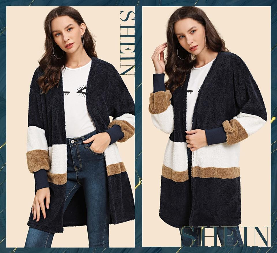 SHEIN Streetwear Multicolor Open Front Color Block Teddy Long Sleeve Coat Winter Modern Lady Elegant Women Coat Outerwear 4