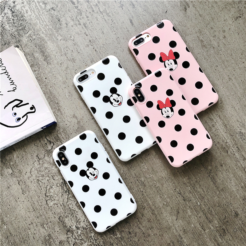 Mickey Minnie 3D relief Phone Cases For iPhone 7 6 6s 8 X 7Plus Cartoon tpu case for iphone X matte silicone cover capa