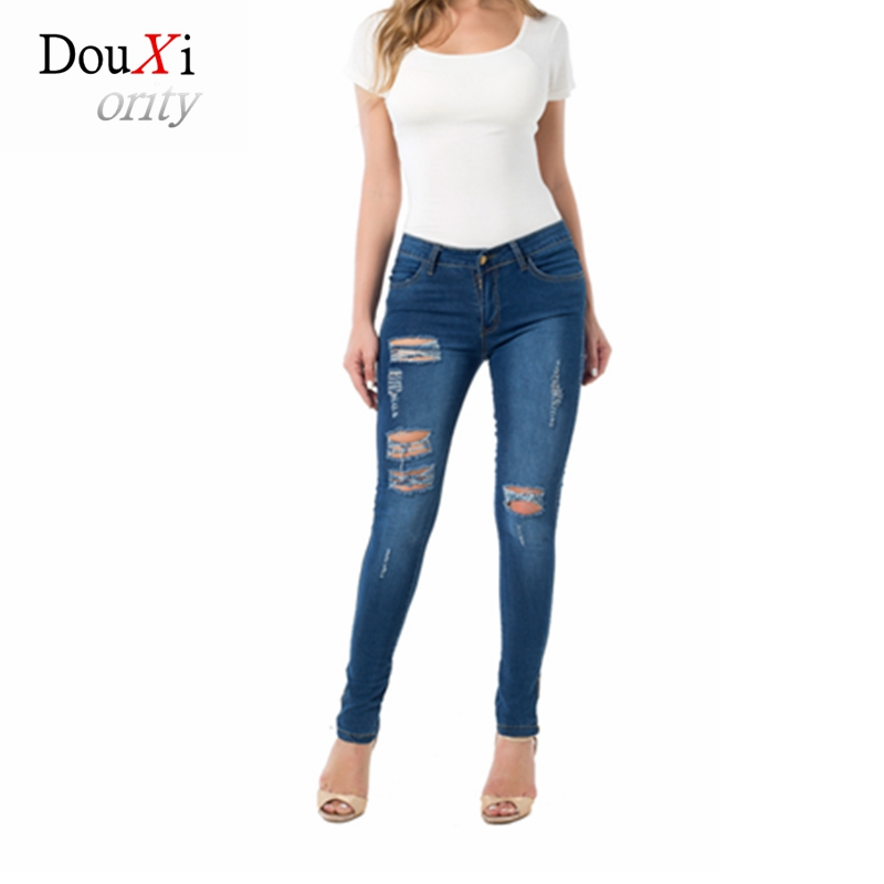 Ripped Jeans For Women High Waist Stretch Skinny Slim Hole Distresssed Feminino Pantalon Femme Denim Sexy BF American Apparel high waist jeans women soft hole ripped skinny slim stretch denim jeans for girl push up jeans ankle length camisa feminina