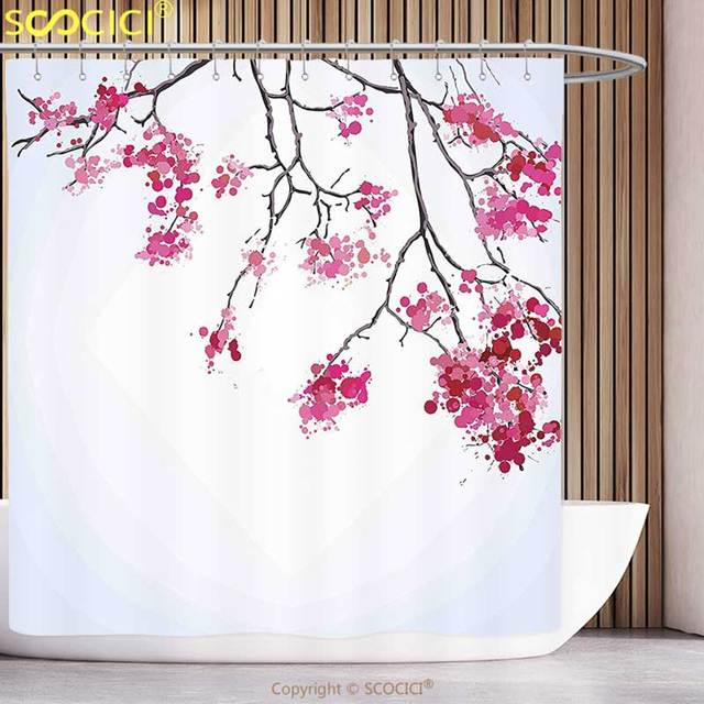 Decorative Shower Curtain Japanese Decor Cherry Blossom Sakura Tree Floral Branch Spring Season Theme Culture Image Fuchsia Blue