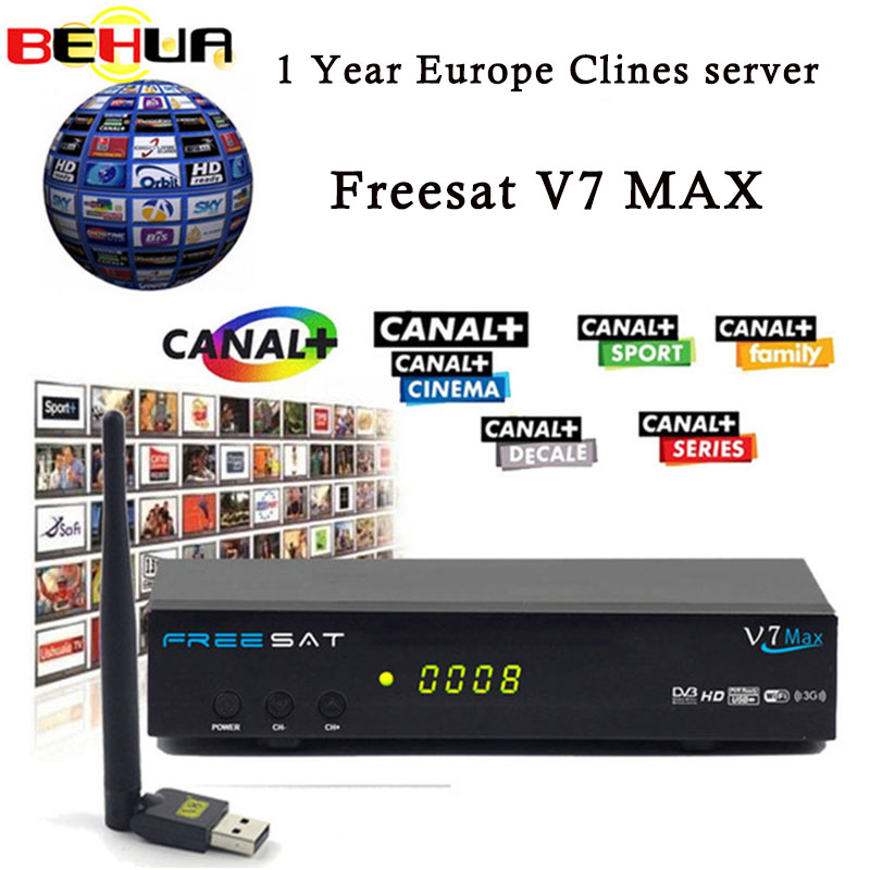 USB WIFI Satellite Receiver with 7 clines for 1 year Europe V7 MAX DVB-S2 Satellite TV Receiver decoder PowerVu Biss Key PK V7