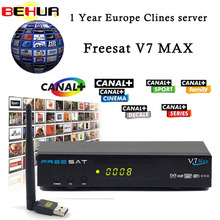 USB WIFI Satellite Receiver with 7 clines for 1 year Europe V7 MAX DVB-S2 Satellite TV Receiver PowerVu Biss Key PK V7 decoder