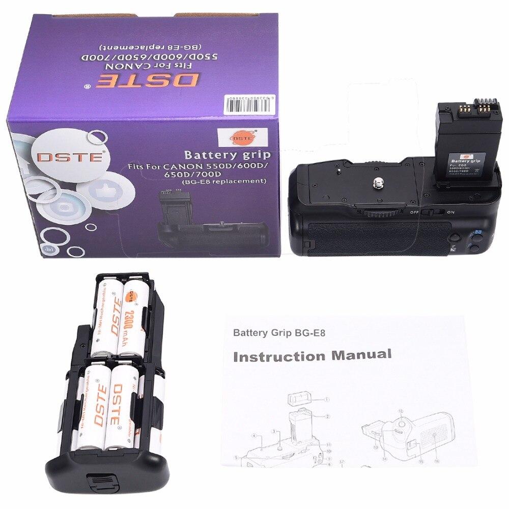 DSTE BG-E8 Poignée De Batterie avec 6 pièces Piles Rechargeables NI-MH AA Batterie pour Canon 650D 700D 550D 600D Rebelles T2i T3i T4i T5i