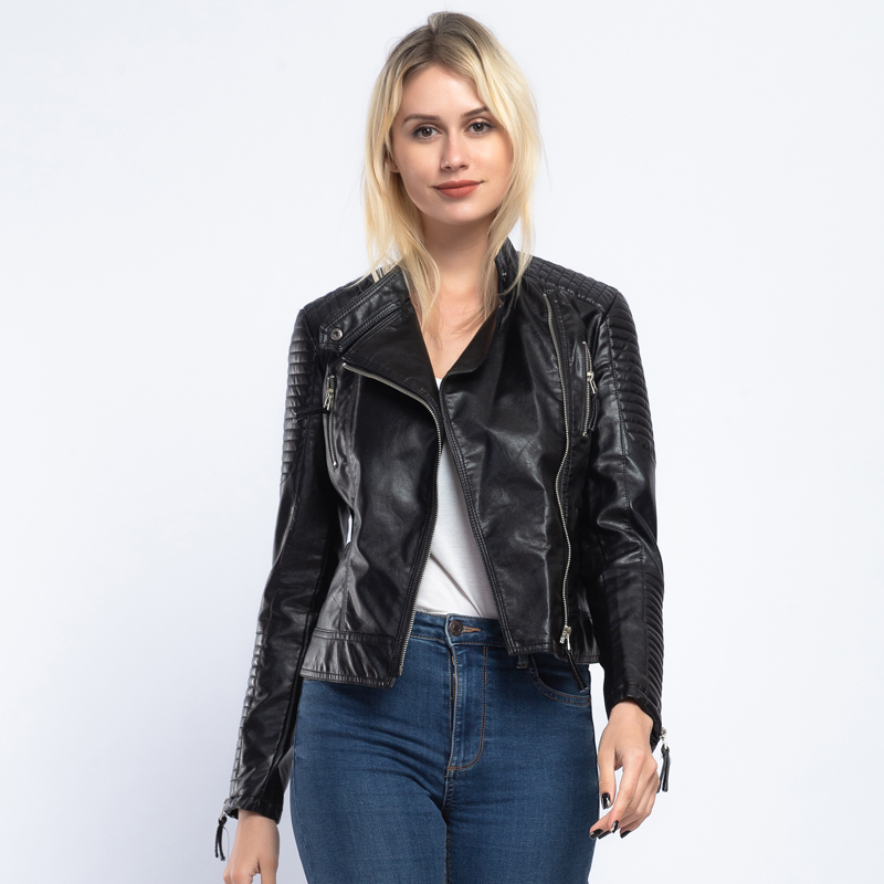 Brand 2019 New Fashion Women Autumn Winter Faux   Leather   Jackets Lady Bomber Motorcycle Cool Outerwear Coat Belt Hot Sale AO910