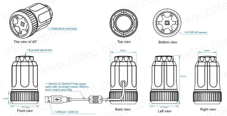 Купить 8.0 МП CMOS Omnivision OV8825 Direct Show HD USB Цифровой Электронный Окуляр Камеры с Адаптерами для Микроскопа дешево