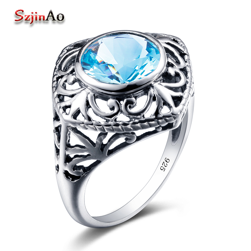 Szjinao Usa 100% 925 Sterling Silver Flower Ring Graduation Gift Blue Stone Aquamarine Personal Rings For Women Fine Jewelry