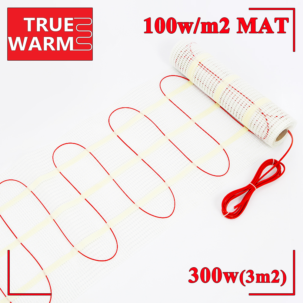 3sqm 100w/m2 Free Shipping True Comfortable Electric Floor Cable Mat Heating System With 10-years Warranty, Wholesale T100-3.0 free shipping 2 3 month 1000g comfortable 100