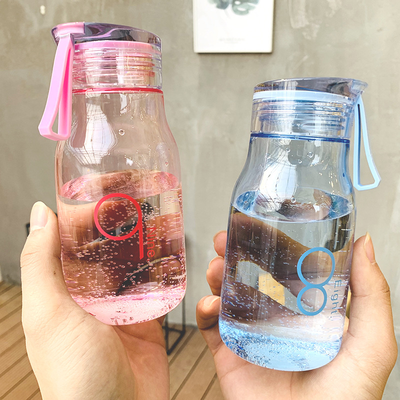 Creative 350ml Number Plastic Water Bottle Portable Outdoor Travel Sport Drinking Bottle Student Lover Drinkware Gifts