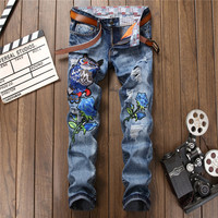 Men Owl Embroidery Jeans Slim Fit Hip Hop Denim Pants Men S Hole Ripped Cool Pants