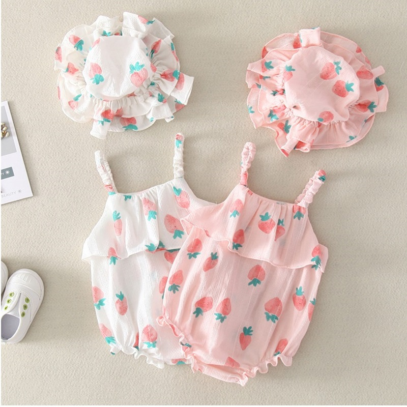 2019 NEW Baby Girls Clothes Summer Sunsuit Floral Print Princess   Rompers  +Sun Hat Brief Set Infant Outfit Girls Jumpsuit Clothes