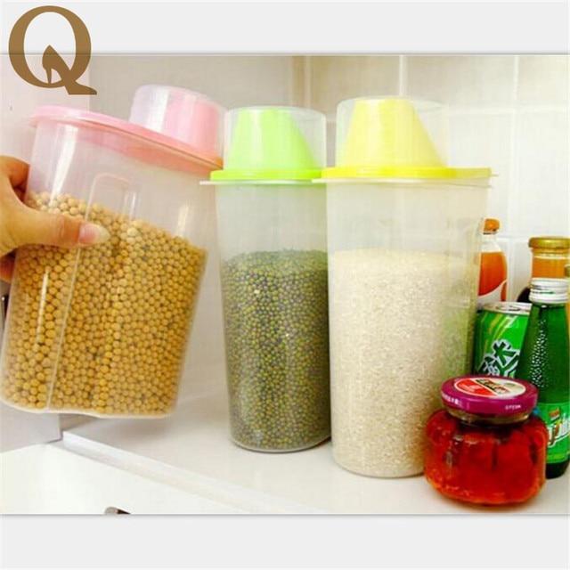 1.9/2.5L Kitchen Storage Organizer Grain Storage Container Rice Holder Box Cereal Bean Container & 1.9/2.5L Kitchen Storage Organizer Grain Storage Container Rice ...