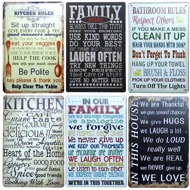 Hot Family Rule Band Chic Home Bar Vintage Metal Signs Home Decor Vintage Tin  Signs Pub