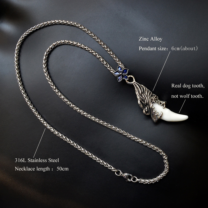 Womans stainless steel necklace tibetan amulet fangs real natural womans stainless steel necklace tibetan amulet fangs real natural tooth vintage silver wolf tooth charm pendant mens necklace in pendant necklaces from aloadofball Choice Image