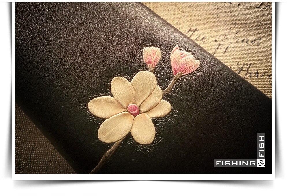 Fleur Gratuite Sur Sac Usine Long Pur Longue Stéréo Conception Bourse Mesure Personnalité Livraison Cuir Manuel Noir Originale Tanné 4dqw8qS