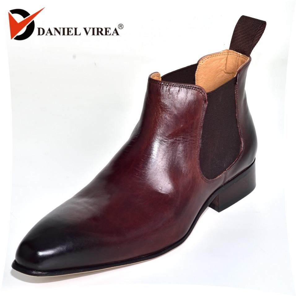 Chelsea Bottes hommes Italie Style De Mode Cheville Derbies dur Casual véritable en cuir Bottes