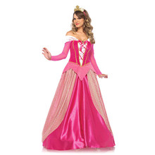 Sexy Pink Princess Costume Halloween Costume Deluxe Princess Aurora Costume Adult Women Sleeping Beauty Movie cosplay Long Dress(China)