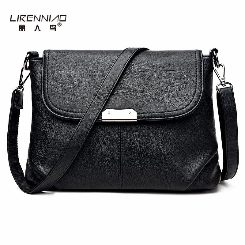 LIRENNIAO Brand Women Messenger Bags Small High Quality Black Leather Shoulder Bag Sequined Soft Handbag Woman crossbody bag