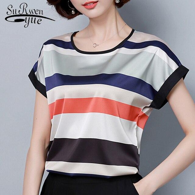 Модная шифоновая Женщины блузка рубашка летние большие размеры 4XL женские Топы шифоновая блузка женская рубашка blusas femininas блузки 0451 30